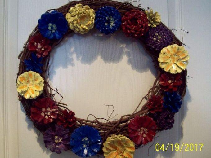 seasonal pine cone wreaths