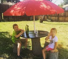 picnic table and stools from tree stumps