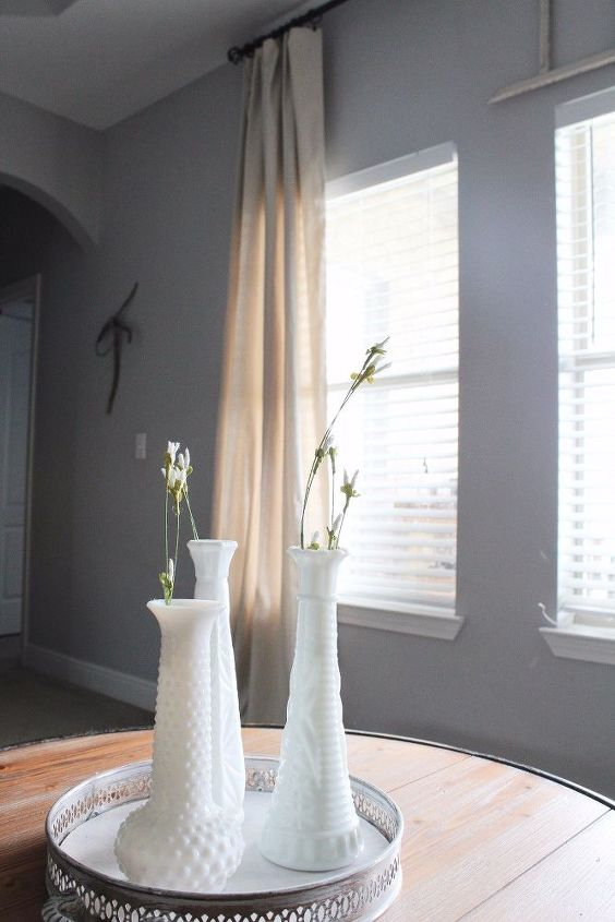 modern farmhouse living room refresh with diy drop cloth curtains