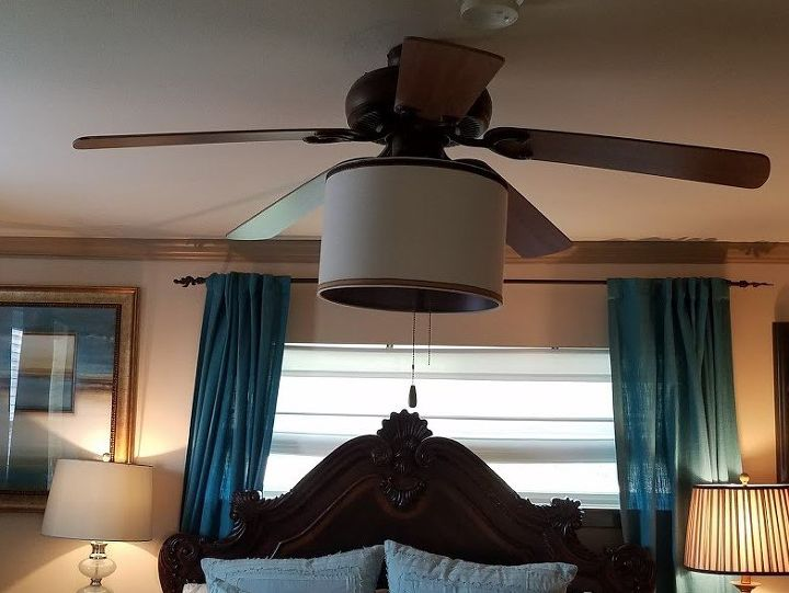 Add lamp shade to ceiling fan ceiling fan with new shade