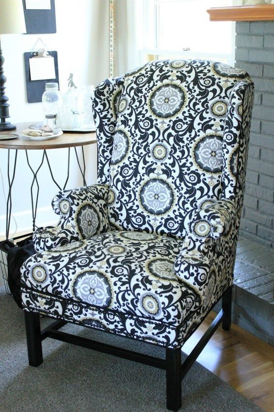 no sew reupholstery making over a wingback chair