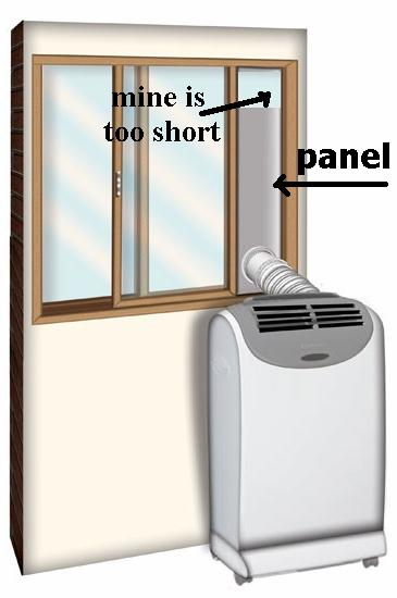 q portable ac unit with vertical slats to seal space