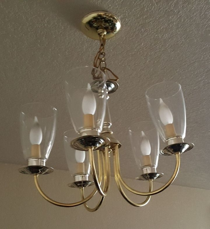 Q How To Update An Ugly Apt Brass Chandelier W Out Removing Fr Ceiling