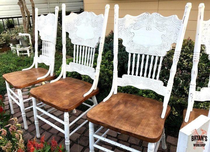 Pressed Oak Chairs ~ Chalk painted oak pressed back chairs hometalk