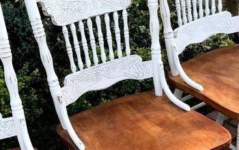 Chalk Painted Oak Pressed Back Chairs!
