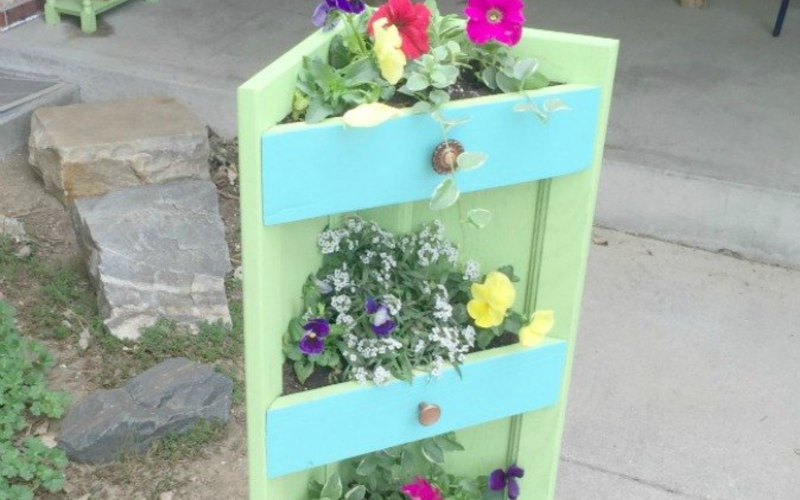 s rip off your cabinet doors for these brilliant upcycling ideas, Turn it into a three tiered planter