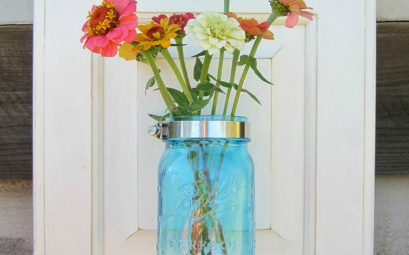 s rip off your cabinet doors for these brilliant upcycling ideas, Hang mason jars on them as wall vases