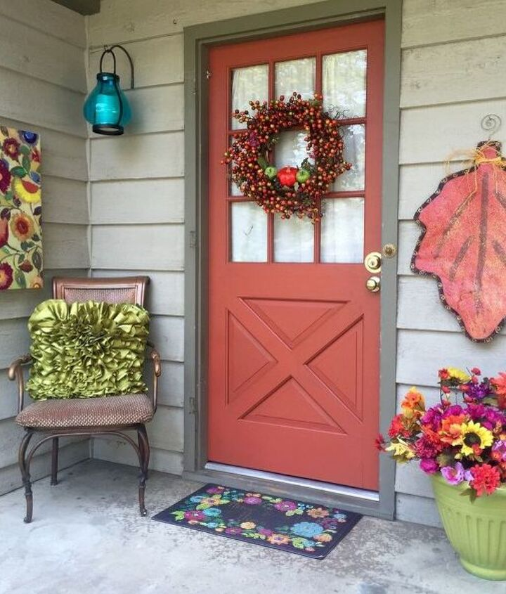 fall front porch copper door