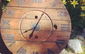 upcycled spool clock