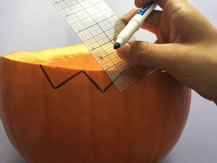 s bibbidi bobbidi boo 3 pumpkin ideas for a magical halloween, Step 4 Draw a fun edge Using your ruler