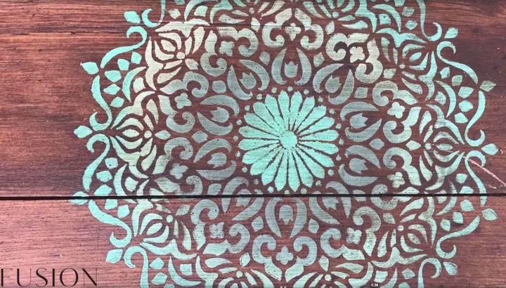 mandela stencil creates a beautiful outdoor zen space blanket box