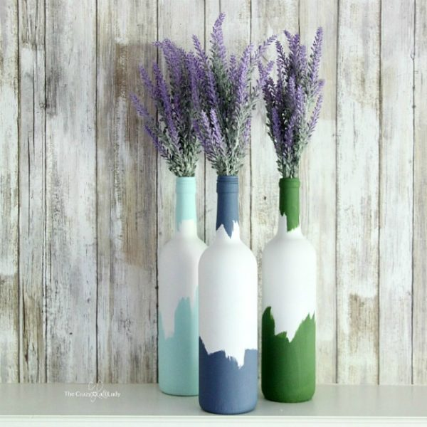 Painted wine bottles wine bottle vases hometalk for What kind of paint to use for wine bottles