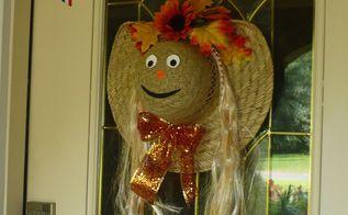 fall door wreath scarecrow hat