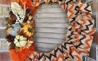 chevron burlap fall wreath