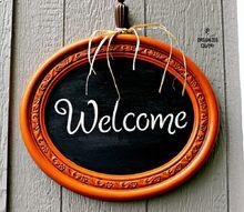 rummage sale mirror to pumpkin welcome chalkboard sign