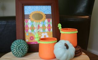 glass jars re purposed into pumpkins