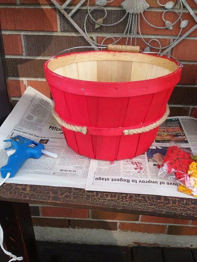 apple baskets turned fall planters