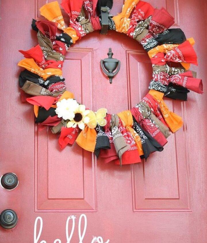 easy fall bandana wreath