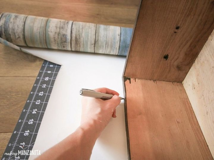 add peel and stick wallpaper to dresser drawers