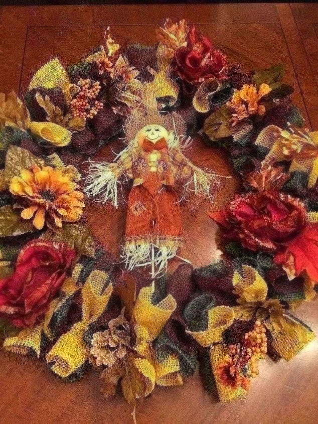 burlap fall autumn halloween wreath