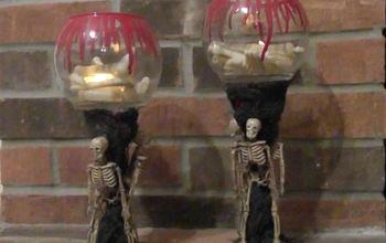 Creepy Skeleton Candle Holders