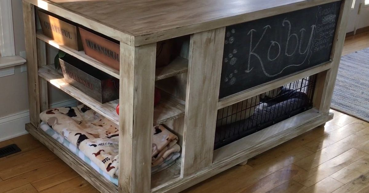Dog crate turned storage chest hometalk for Re storage crate