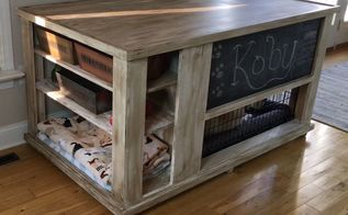 dog crate turned storage chest