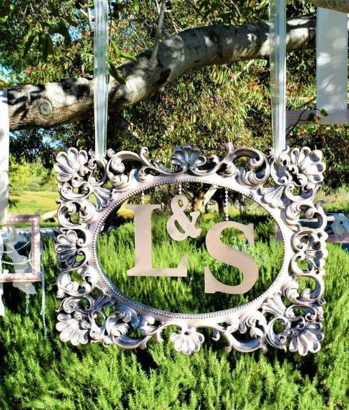 diy event decor hanging metallic picture frames