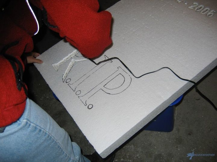 carve a halloween tombstone