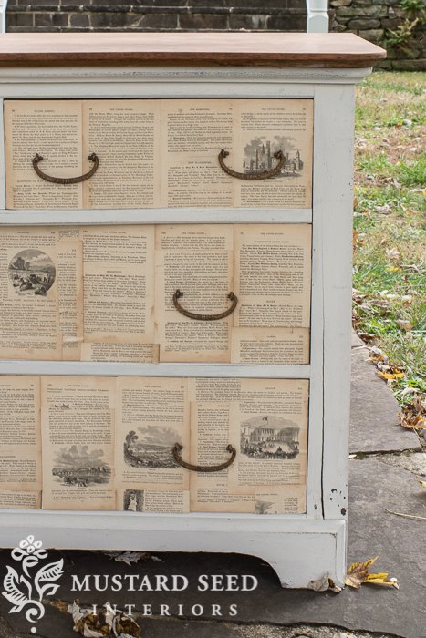how to make a book page decoupage dresser