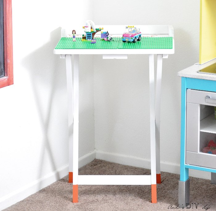 turn an old tv table into a fun place for legos