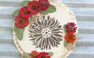 fall stencil embroidery hoop art