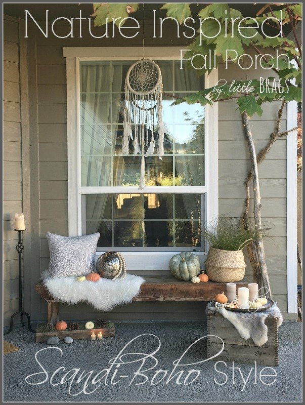a natural scandi boho style fall porch