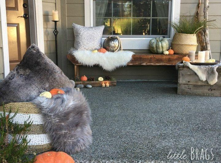 a natural scandi boho style fall porch