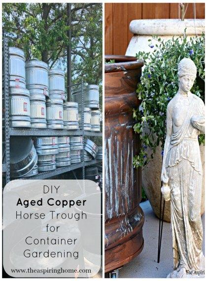 diy aged copper container garden