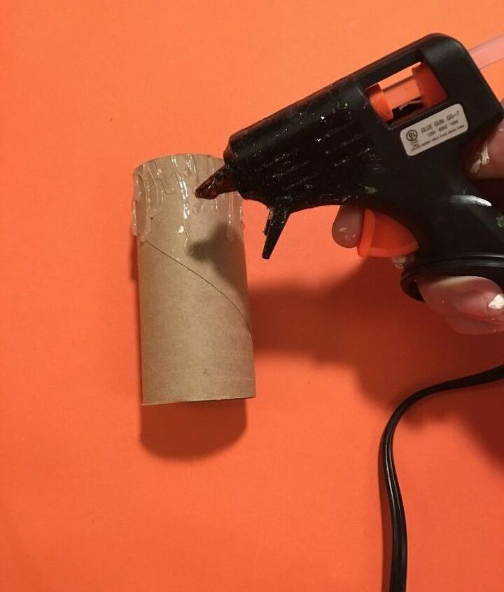 s don t throw out your old toilet paper rolls until you try these ideas, Step 2 Add dripping hot glue streams