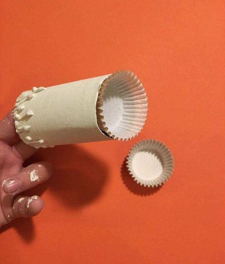 s don t throw out your old toilet paper rolls until you try these ideas, Step 4 Glue cupcake liner in roll s bottom