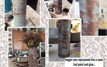 repurpose your recycled cans into a rustic flower vase