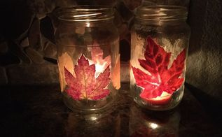 fall candle with leaves
