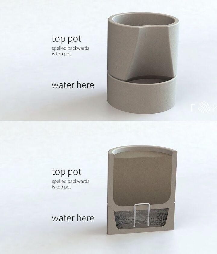 self watering concrete planter