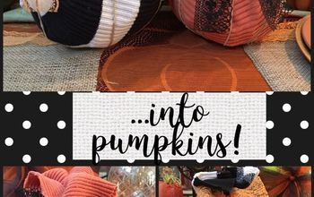 repurpose your old sweaters into fall harvest decorations, Finished 2 Pumpkins Med Sml