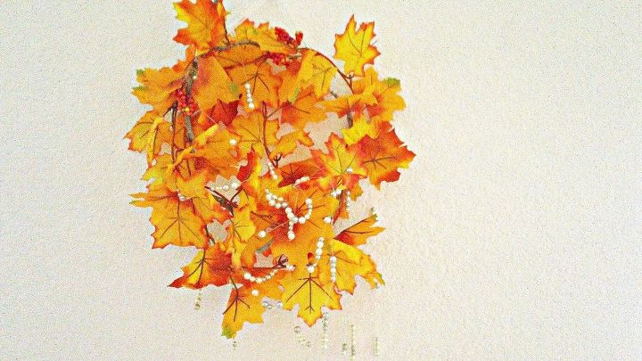 fall decor diy pearl leaves chandelier