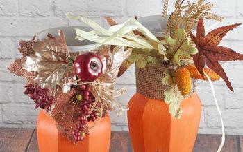Thrift Store Painted Vase Pumpkins