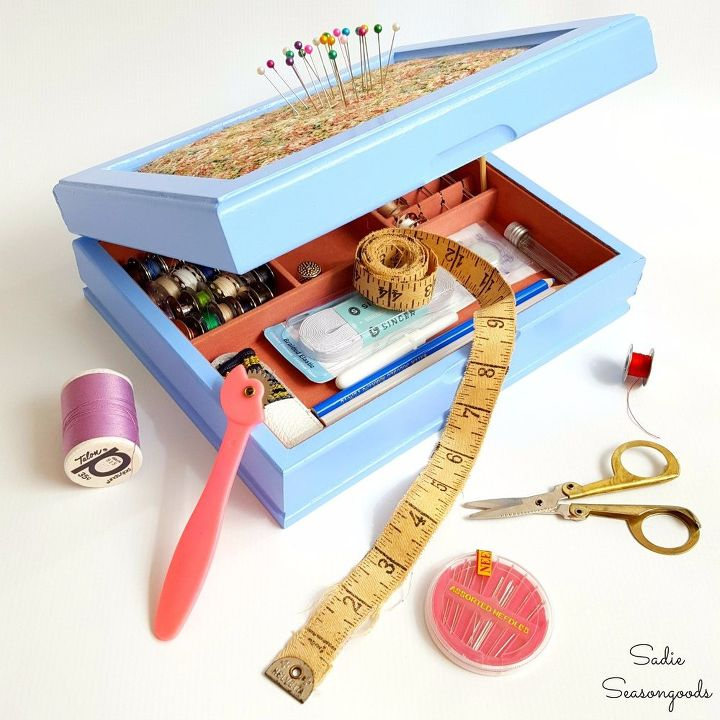 s 30 brilliant things you can make from cheap thrift store finds, Use a Ugly Jewelry Box as a Cute Sewing Kit