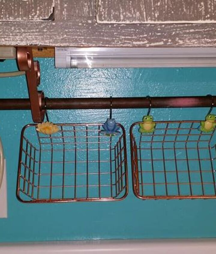 hanging copper baskets in the kitchen