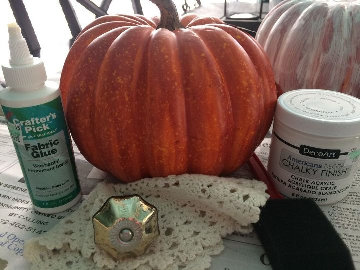 a store bought pumpkin gets a vintage vibe