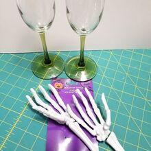 creepy skeleton wine glasses