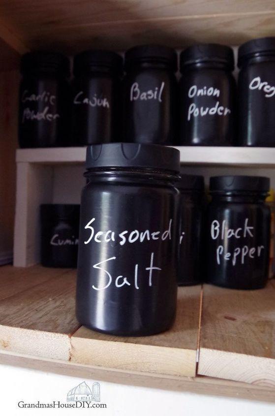 organizing a spice cabinet with mason jars