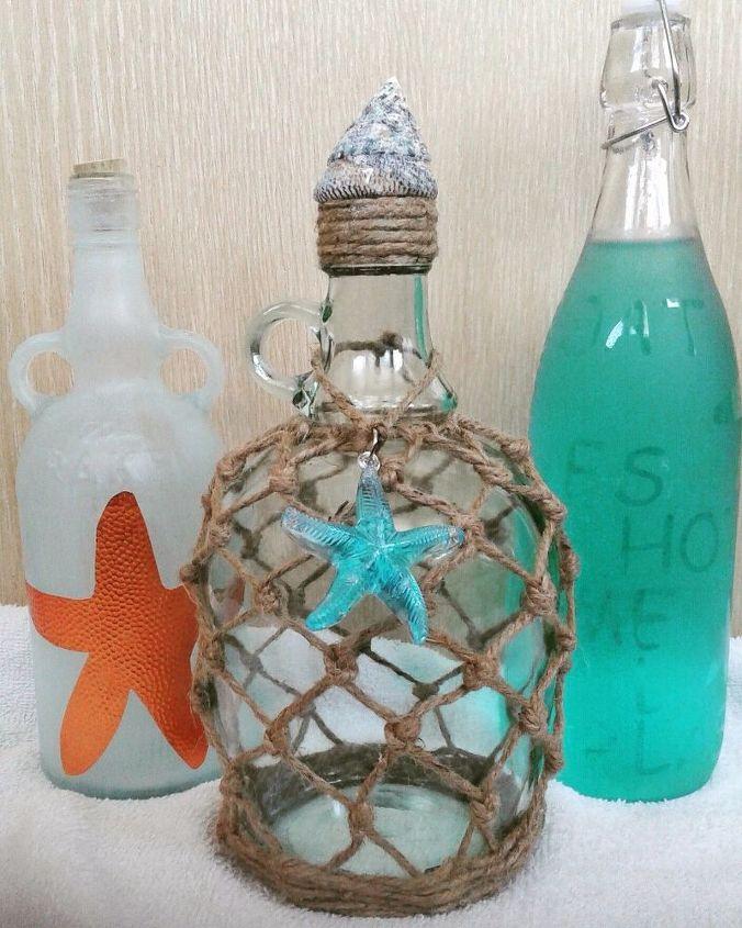 empty bottle transformed to beach decor