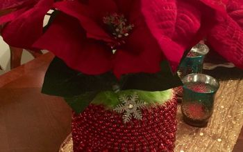 Christmas Vase Beaded Pickle Jar